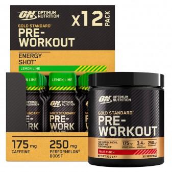 Optimum Nutrition Kit Gold Standard Pre-Workout Energy Shot Limone Lime 12 Flaconi e Pre-Workout in Polvere Frutta Mista 330g