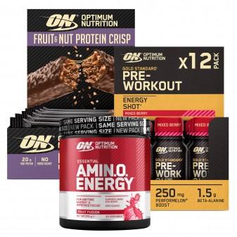 Optimum Nutrition Essential Amino Energy 270g Pre-Workout Energy Shot 12 Monoporzioni Fruit Nut Protein Crisp 10 Barrette