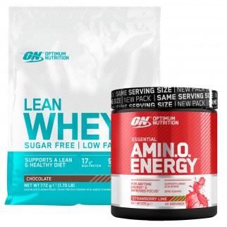 Optimum Nutrition Proteine e Aminoacidi Lean Whey al Cioccolato 772g e Amino Energy Fragola e Lime 270g Senza Zucchero