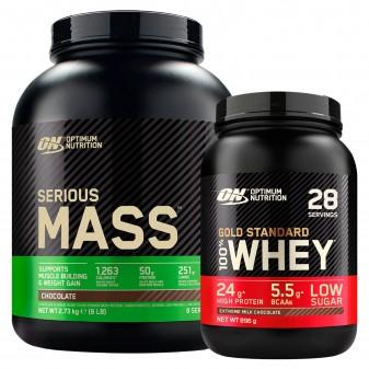 Optimum Nutrition Proteine Whey Serious Mass Cioccolato 2,73kg e Gold Standard 100% Whey Cioccolato al Latte 896g