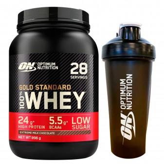 Optimum Nutrition Gold Standard 100% Whey Proteine Isolate in Polvere Cioccolato al Latte con Shaker - Barattolo da 896g