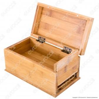Storage Box Large Scatola Portatutto con Doppio Fondo in Bamboo