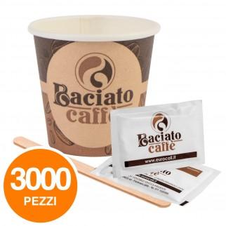 Kit da 1000 Bicchierini Biodegradabili + 1000 Palettine in Legno + 1000 Bustine di Zucchero Baciato Caffè