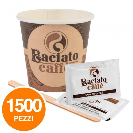 Kit da 500 Bicchierini Biodegradabili + 500 Palettine in Legno + 500 Bustine di Zucchero Baciato Caffè