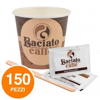 Kit da 50 Bicchierini Biodegradabili + 50 Palettine in Legno + 50 Bustine di Zucchero Baciato Caffè