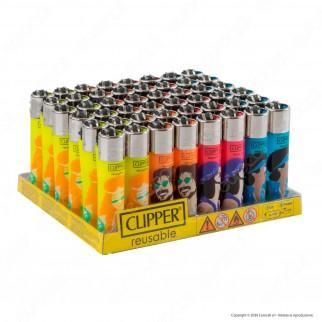 Clipper Large Traslucido Fantasia Hippie Peace 4A - Box da 48 Accendini