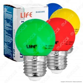 Life Lampadina LED E27 2W MiniGlobo G45 Colorata - mod