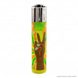 Clipper Large Traslucido Fantasia Hippie Peace 4B - Box da 48 Accendini