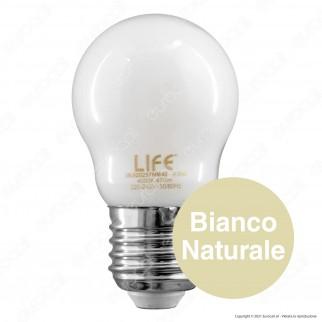 Life Lampadina LED E27 Filament 4.5W MiniGlobo G45 Milky Vetro - mod. 39.920257NM40