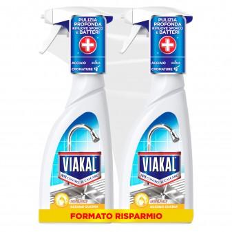Viakal Aceto Spray Anticalcare Acciaio Cucina - 2 Flaconi da 700ml