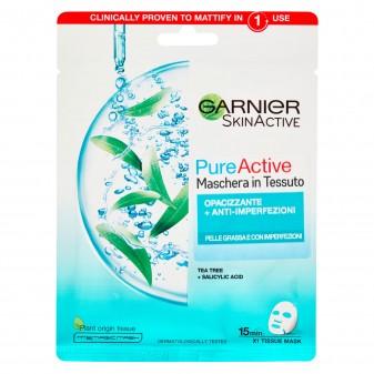Garnier SkinActive Pure Active Maschera Viso in Tessuto Anti- Imperfezioni e Opacizzante - Confezione da 1 pezzio