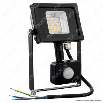 V-Tac VT-4810 PIR Faretto LED 10W Ultra Sottile Slim con Sensore Colore Nero - SKU 5723 / 5724 / 5725