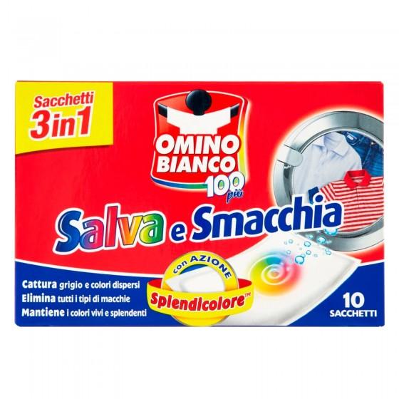 Omino Bianco 100 Più Salva e Smacchia 3in1 Sacchetti per Lavatrice - Confezione da 1 pezzi