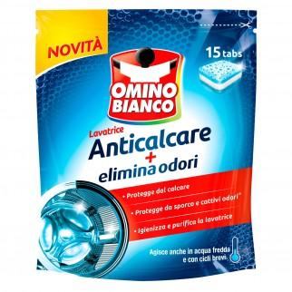 Omino Bianco Lavatrice Tabs Anticalcare Elimina Odori - Confezione da 15 Pastiglie