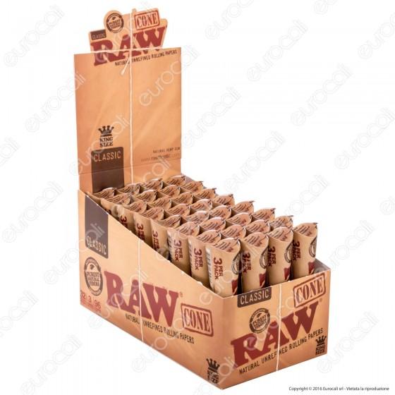 Coni Raw Classic King Size Cartine Lunghe Prerollate con Filtro - Scatola da 32 Pacchetti
