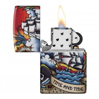 Accendino Zippo Mod. 49532 Nautical Tattoo - Ricaricabile Antivento