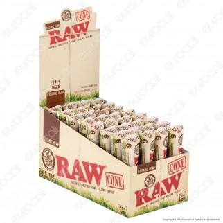 Coni Raw Organic Hemp Cartine Corte 1¼ Prerollate con Filtro - Scatola da 32 Pacchetti