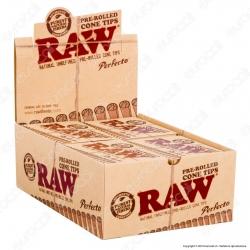 Raw Pre-Rolled Cone Tips Filtri a Cono Prerollati - Scatola da 20 Pacchetti