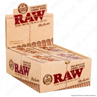 Coni Raw Pre-Rolled Cone Tips Filtri a Cono Prerollati - Scatola da 20 Pacchetti