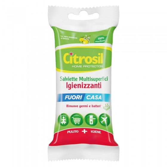 Citrosil Salviette Multisuperfici Igienizzanti Fuori Casa con Essenze di Limone - Confezione da 12 Salviette