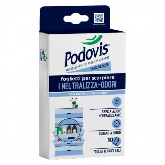 Podovis Foglietti per Scarpiere Neutralizza Odori a Rapida Azione con Estratti Botanici - Confezione da 10 Foglietti