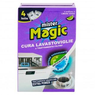 Mister Magic Cura Lavastoviglie e Trattamento Filtro Profumo Limone Verde - Confezione da 4 Buste