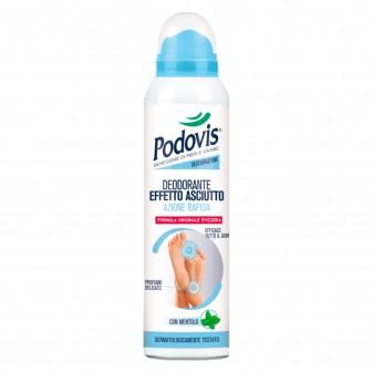 Podovis Deodorante Effetto Asciutto ad Azione Rapida Dermatologicamente Testato con Mentolo - Flacone da 150 ml