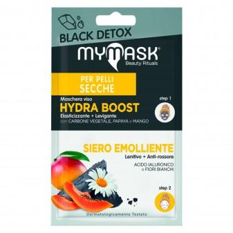 MyMask Black Detox Trattamento Elasticizzante e Levigante Maschera Hydra Boost e Siero Emolliente - Confezione da 1 trattamento