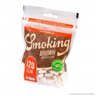 C00009007 - Smoking Brown Slim 6mm Biodegradabili - Box 10 Bustine da 120 Filtri