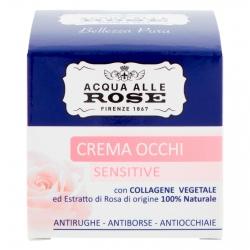 Acqua alle Rose Crema Occhi Sensitive Antirughe Antiocchiaie Antiborse con Collagene - Barattolo da 15ml