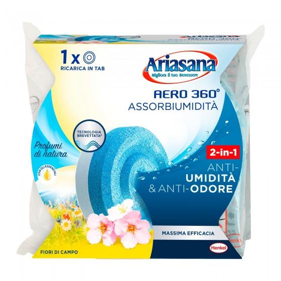 Ariasana Aereo 360° Tab Assorbiumidità e Anti Odore Fiori di Campo - Confezione con 1 Ricarica