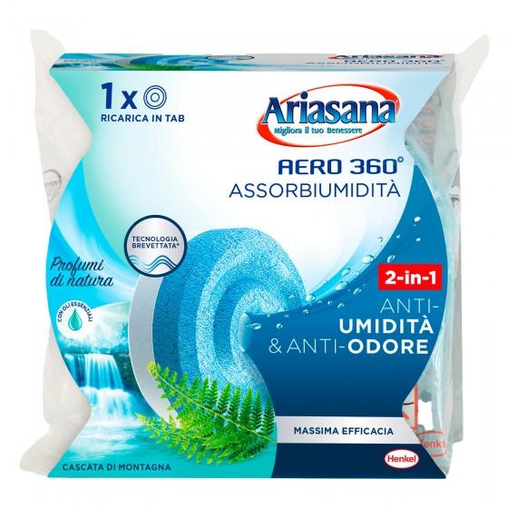 Ariasana Aereo 360° Tab Assorbiumidità e Anti Odore Cascata di Montagna - Confezione con 1 Ricarica