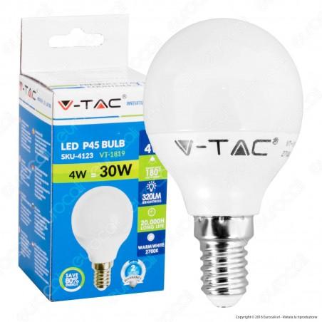 V-Tac VT-1819 Lampadina LED E14 4W MiniGlobo P45 - SKU 4123 / 4174 / 4124