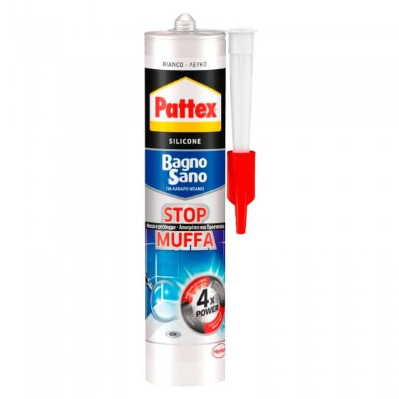 Pattex Bagno Sano Stop Muffa Silicone Bianco con Applicatore - Flacone da 300ml