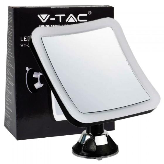V-Tac VT-7573 Lampada LED a Specchio Ingrandimento 10x con Ventosa di Fissaggio 3,2W Orientabile Colore Nero - SKU 6630