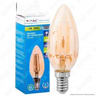 V-Tac VT-1982 Lampadina LED E14 4W Candela Filamento in Vetro Dorato Vintage - SKU 4462