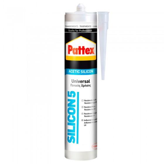 Pattex Silicon5 Trasparente Silicone Acetico Universale con Applicatore - Flacone da 280ml