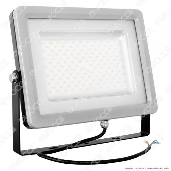 V-Tac Faretto LED SMD 100W Ultra Sottile da Esterno Colore Grigio e Nero - SKU 5743 / 5744