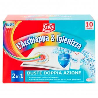Grey L'Acchiappa & Igienizza 2in1 per Lavatrice Bucato Misto - Confezione da 10 Buste