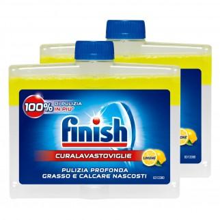 Finish Curalavastoviglie al Limone Trattamento per Pulizia Lavastoviglie - 2 Flaconi da 250 ml