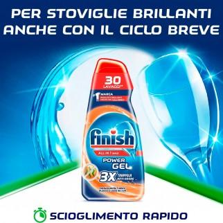 Finish PowerGel Tutto in 1 Max Anti-Odore per Lavastoviglie - Flacone da 650ml