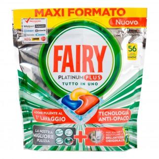 Fairy Platinum Plus Detersivo in Capsule per Lavastoviglie al Limone - Confezione da 56 pastiglie