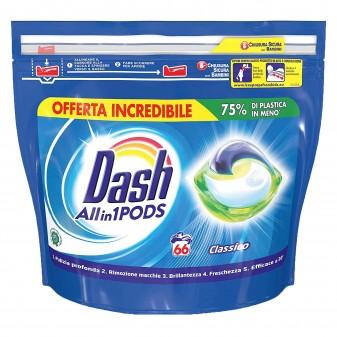 Dash Pods All in One Detersivo in Capsule per Lavatrice - Confezione da 66 Pastiglie