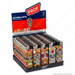 Prof Electronic Color Skull Accendino Maxi Elettronico Ricaricabile - Box da 50 Accendini