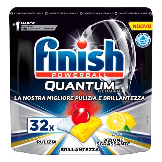 Finish Powerball Quantum Ultimate al Limone per Lavastoviglie - 32 Pastiglie