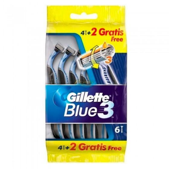 Gillette Blue3 Rasoio Uomo Usa e Getta 3 Lame - Confezione da 6 Pezzi