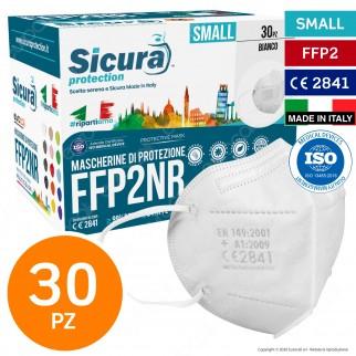 Sicura Protection 30 Mascherine Small Filtranti Monouso con Fattore di Protezione Certificato FFP2 NR in TNT Multistrato
