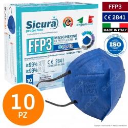 Sicura Protection 10 Mascherine Protettive Colore Blu Cobalto Elastici Neri Filtranti Monouso Classe Protezione FFP3 TNT