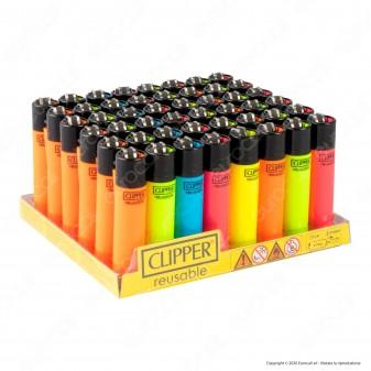 Clipper Large Fluo Branded - Box da 48 Accendini