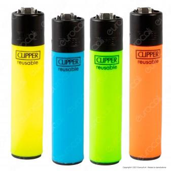 Clipper Large Fluo Branded - Serie da 4 Accendini